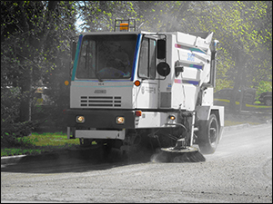 photograph of a street sweeper